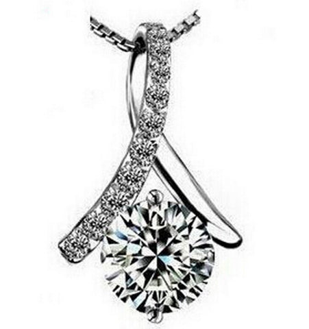 Crystal Ribbon with Zirconia Pendant Necklace in 3 colors