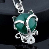 Agate Fox 925 Sterling Silver Necklace - 2 color choices