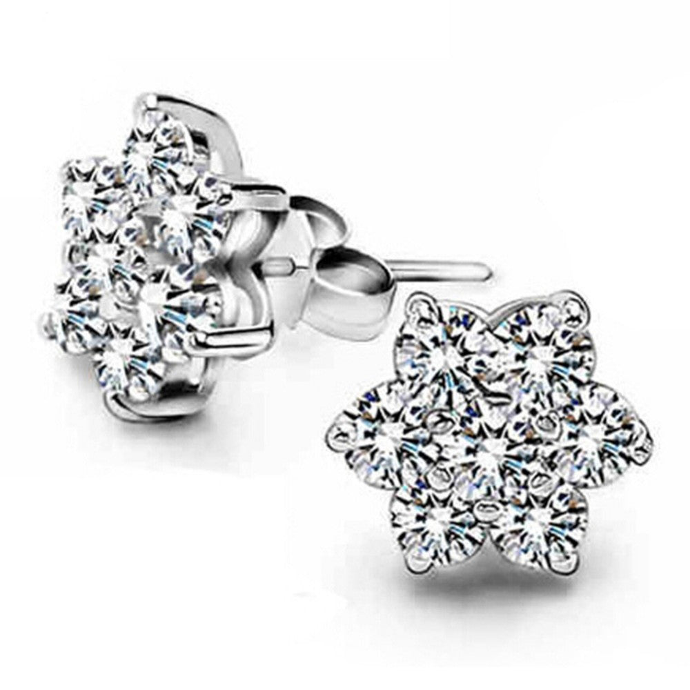 Snowflake Crystal Zircon Earrings in 2 colors