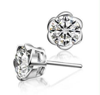 Rose CZ Earrings in 925 Sterling Silver