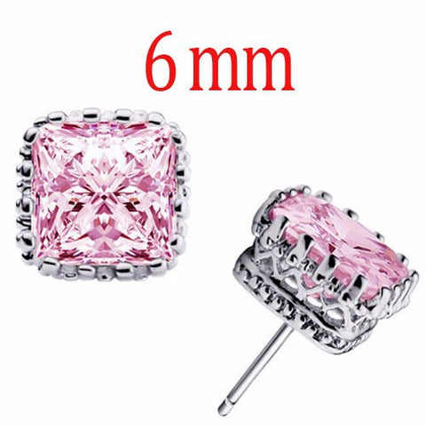 6mm Square Crown Crystal Earrings in 4 colors