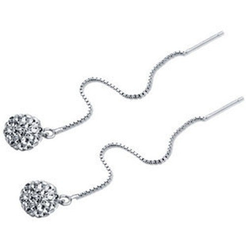 Shamballa Box Chain Earrings in 925 Sterling Silver - 5 color choices