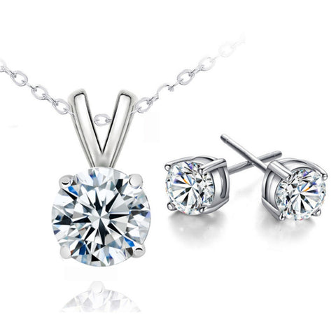 Classic Round Cubic Zircon Necklace + Earrings Set