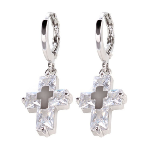 AAA Zirconium Cross  Earrings in 3 colors