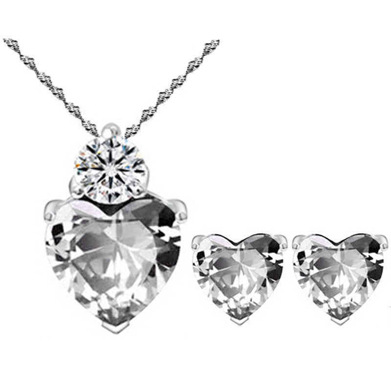 Crystal Zircon Heart Necklace + Earrings Set in 3 colors