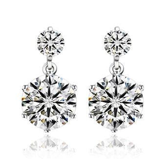8mm Double Round CZ Earrings in 925 Sterling Silver