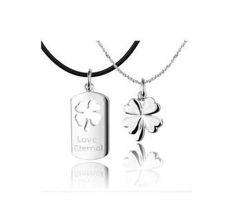 Hers & His Clover 925 Sterling Silver Necklace