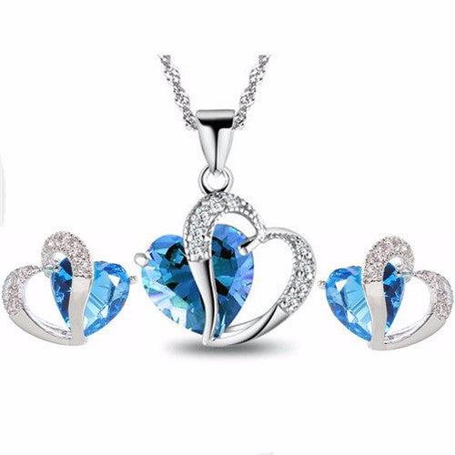 Double Hearts Blue or Purple Crystal Zircon Necklace + Earrings Set