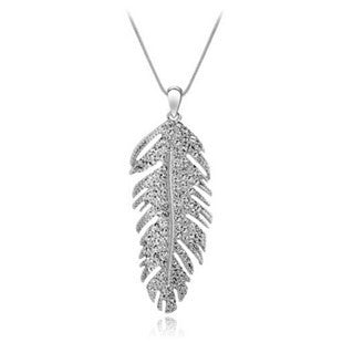 Crystal Feather Plume Pendant Necklace