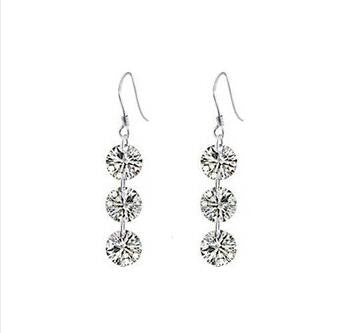 3 Crystal Drop Earrings in 925 Sterling Silver