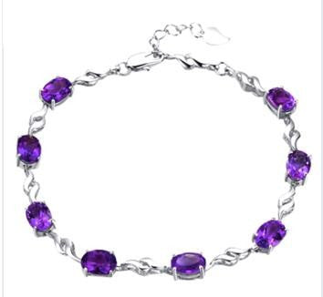 Amethyst and 925 Sterling Silver Bracelet