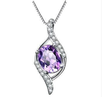 Amethyst in 925 Sterling Silver Necklace