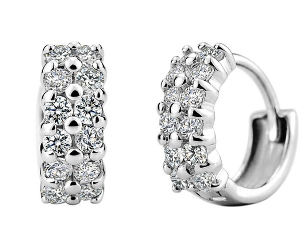 Double Row Crystal  Zircon Earring