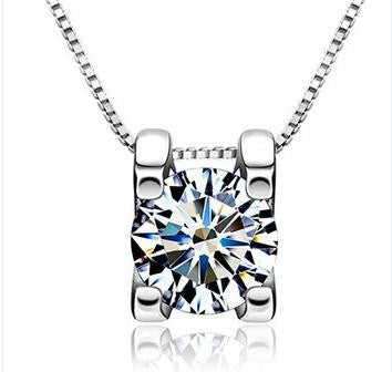 AAA Round Solitaire Set in Square 925 Sterling Silver Necklace