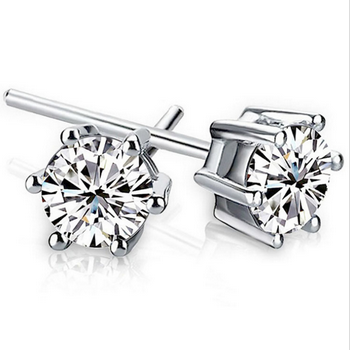 4 Angle Stud Crystal Zirconia Earrings