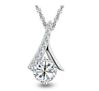 CZ Ribbon 925 Sterling Silver Necklace