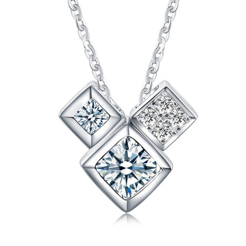 3 cube 925 Sterling Silver Necklace