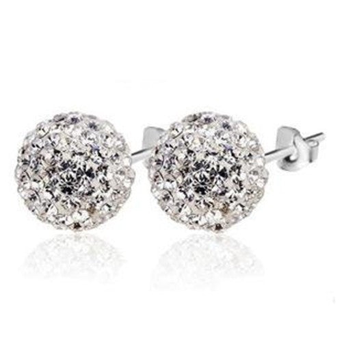 Shamballa Stud Earrings in 925 Sterling Silver - 5 color choices