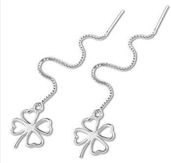Box Chain Shamrock Earrings in 925 Sterling Silver