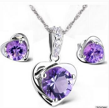 AAA Purple Heart in 925 Sterling Silver Necklace + Earrings  Set