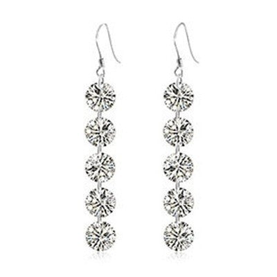 5 Crystal Drop Earrings in 925 Sterling Silver