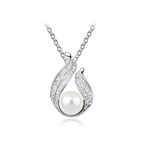 Angel Wings Pearl and Crystal Pendant Necklace