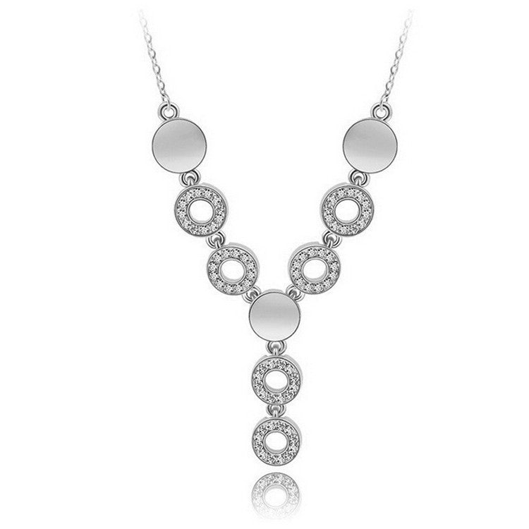 Round Crystal Circle Hoops Necklace with Crystals in Silver or Gold