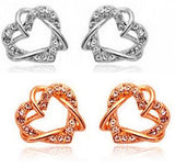 Double Heart Crystal Earring - 2 color choices