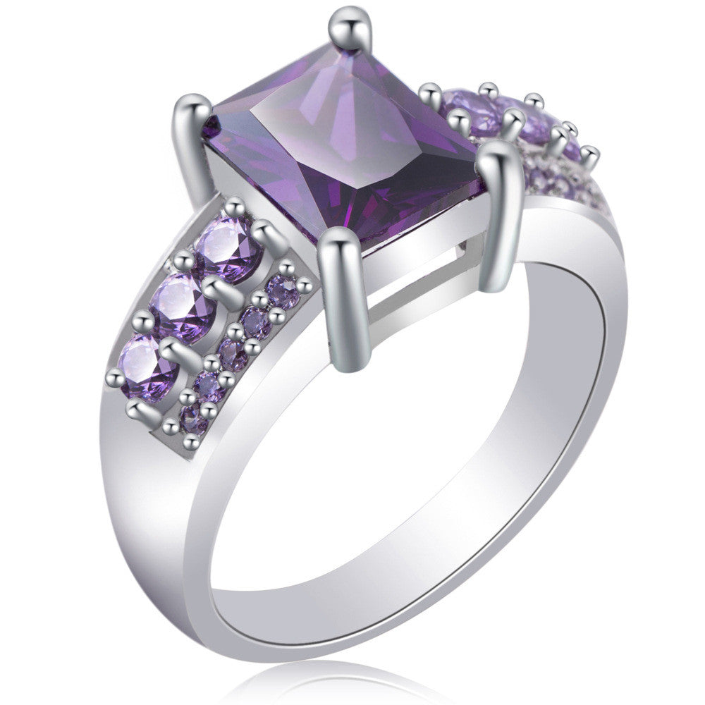Radiant and Round Purple CZ Ring