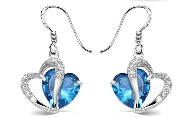 Crystal Double Heart Earrings in 2 colors