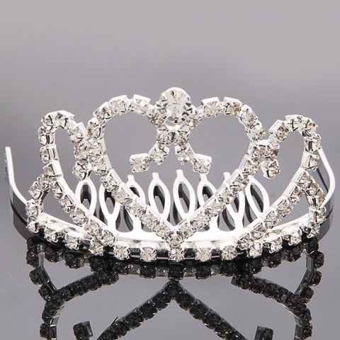Medium Heart Rhinestone Crown Comb Hair Clip Tiara Silver
