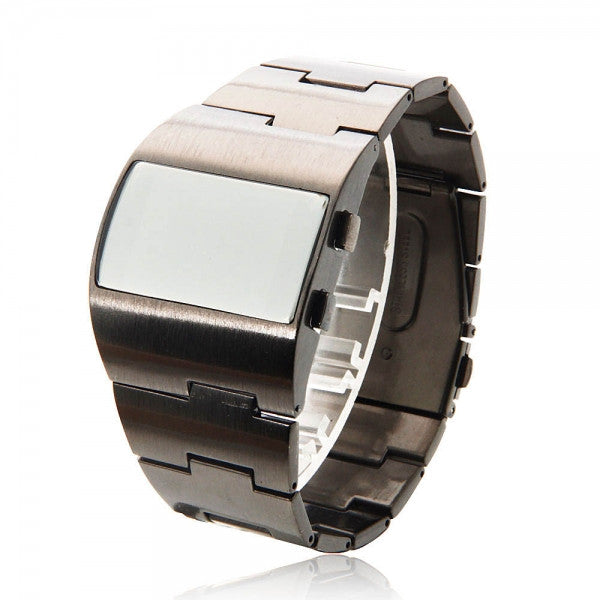 Men Casual Alloy Watchband Electron Movement Wrist Watch Black