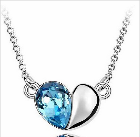 Blue Heart Crystal/Silver Pendant Necklace
