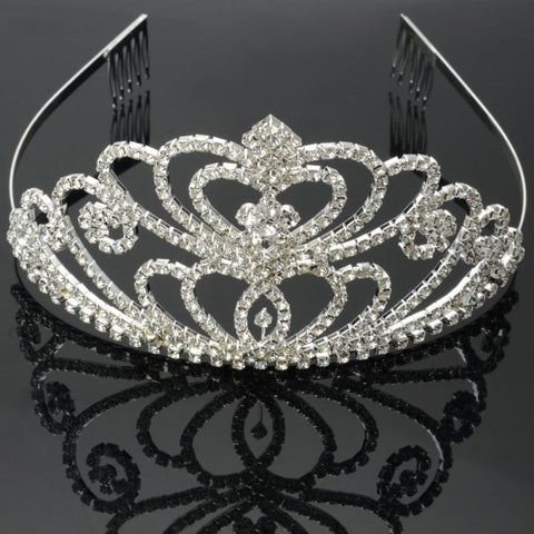 Overlapping of Love Shape Rhinestone Crown Hair Comb Pin Tiara