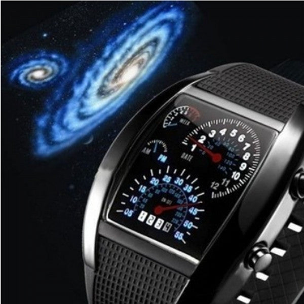 Popular Blue LED Light Steel Case Aviation Speedometer Analog Wrist Watch Black