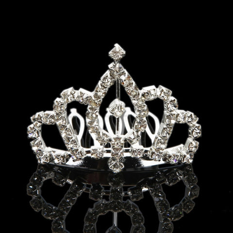 Rhinestone Crown Comb Hair Clip Tiara
