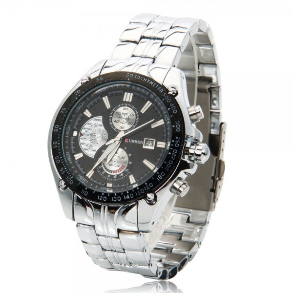 Round Dial 3-Circle Needle Scale Alloy Wrist Watch Silver & Black