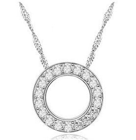 Crystal Zircon Round Hoop Pendant Necklace in White or Pink