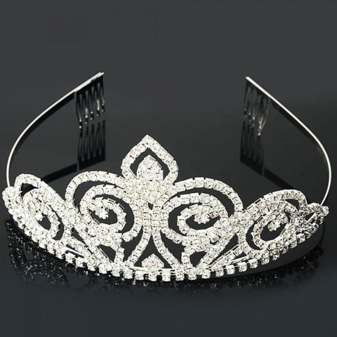 Roundish Medium Rhinestone Bridal Wedding Tiara Crown Hair Comb Pin Silver