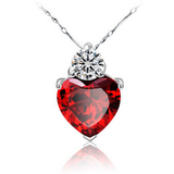 Red Heart CZ 925 Sterling Silver Necklace