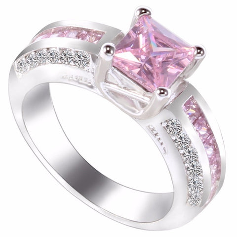 10KT White Gold Filled Princess Cut Pink with channel set pink and CZ