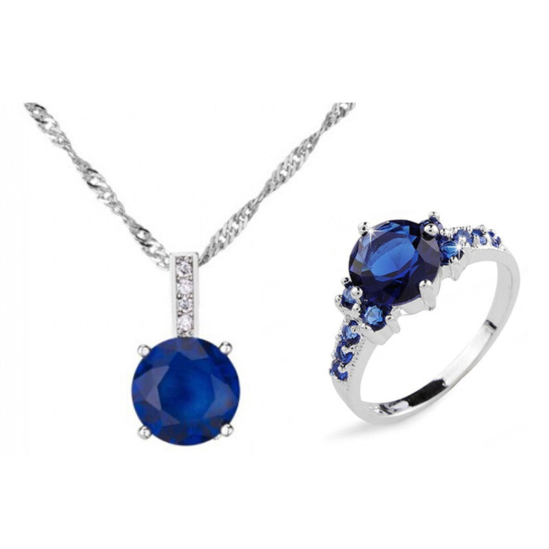 10KT White Gold Filled Blue Sapphire Crystal Necklace + Ring
