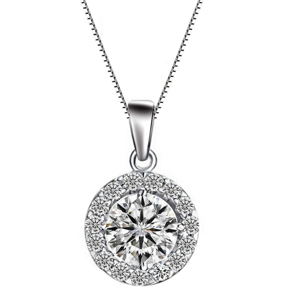 Shiny Round Crystal Zircon Pendant Necklace