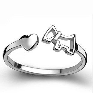 Dog and Heart 925 Sterling Silver Ring -  One Size