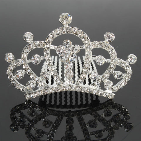 Small Rhinestone Wedding Bridal Crown Tiara Hair Comb