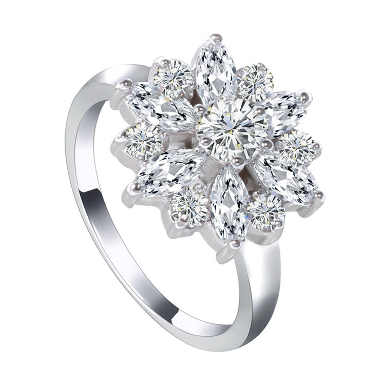 Snowflake White Sapphire 10KT White Gold Filled Ring
