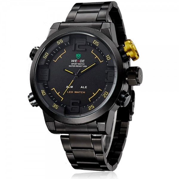 Sports Style Stainless Steel Quartz Analog LED Man Wrist Watch Black & Yellow