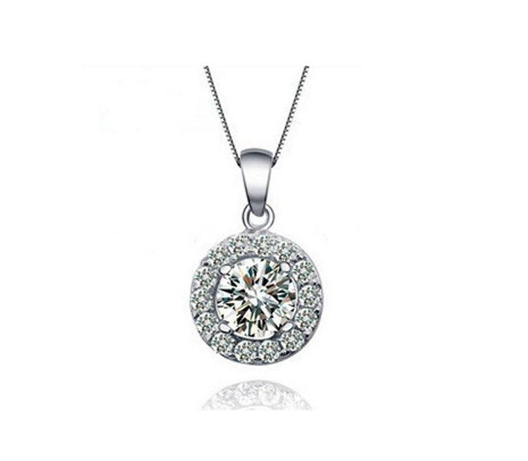 Round Halo CZ in 925 Sterling Silver Necklace