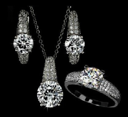 AAA Zircon Bridal Necklace + Earring + Ring Trio Set in Silver or Gold