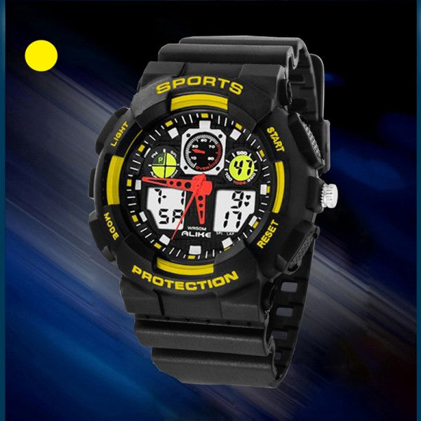 Waterproof Sport Wrist Watch Alike 1055 Mens Ladies Multifunction Diving Watch Yellow